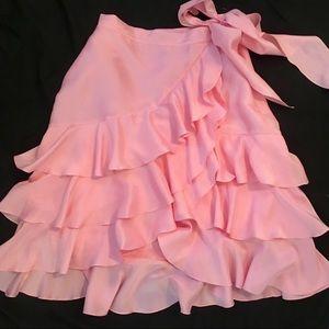 LAUREN Ralph Lauren Pink Silk Ruffled Skirt 10P
